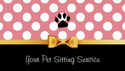 Girly pet sitting and pet care business cards girly business cards cute pink polka dots girly gold bow pet sitting services business cards colourmoves