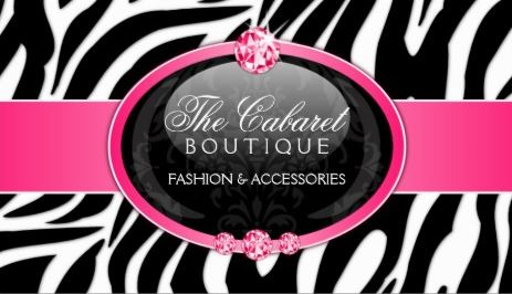 Glam Boutique Zebra Print Hot Pink Diamond Bling Business Cards