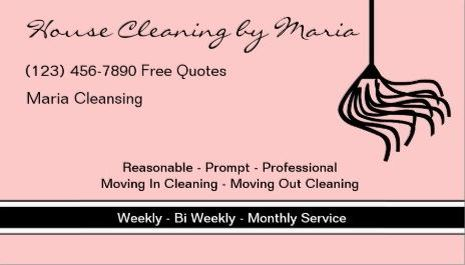 Simple Pink and Black Mop Silhouette Maid Housekeeper Business Cards