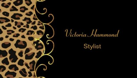 Stylish Black and Elegant Gold Swirl Jaguar Print Business Cards