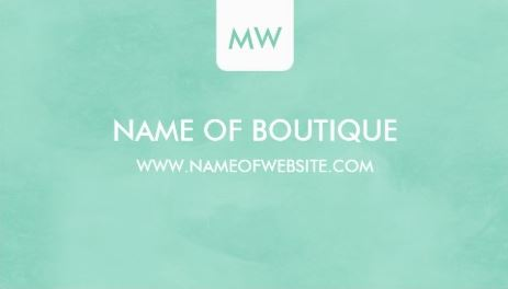 Simple Mint Green Chic Boutique Monogram Social Media Business Cards