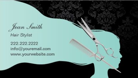 Stylish Aqua Woman Silhouette Scissor and Comb Salon Appointment Business Cards