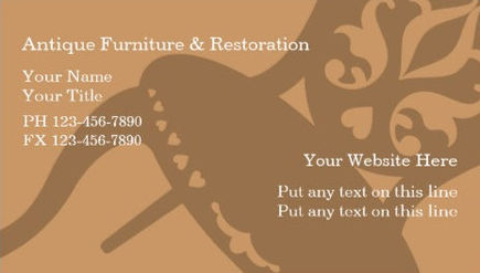 Simple Antique Furniture Restoration With Chair Silhouette Business Cards