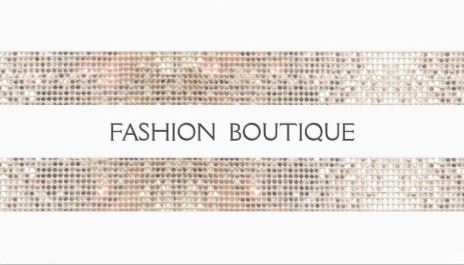 Glitzy Fashion Boutique Sparkly Silver Sequins Look White Business Cards
