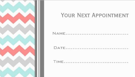 Chic Aqua Coral and Grey Chevron Salon Appointment Reminder Business Cards