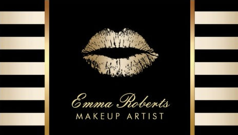 Gold Lips Makeup Artist With Modern Black  Gold Stripes Business Cards