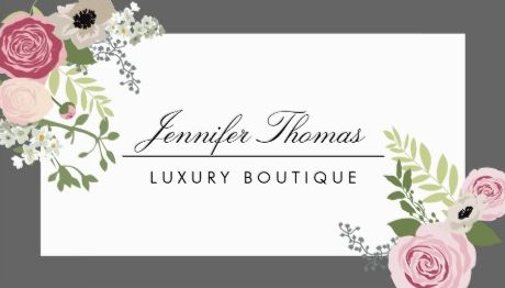 Elegant Pink Vintage Rose Floral White and Gray Boutique Business Cards