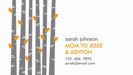 Contemporary Grove of Gray Birch Trees Orange Leaves Mommy Calling Cards