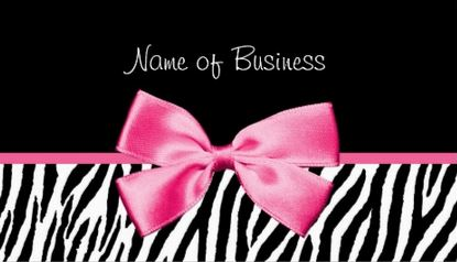 Trendy Black And White Zebra Print Girly Hot Pink Ribbon Business Cards
