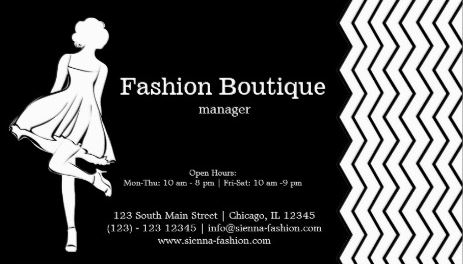 Modern Girly Black and White Chevron Fashion Boutique Business Cards