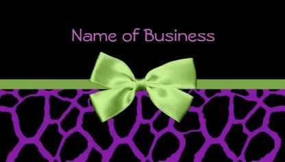 Girly Purple Giraffe Print With Cute Green Ribbon Business Cards