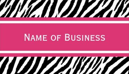 Modern Zebra Pattern Bright Pink Stripe Contact Business Cards