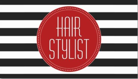 Trendy Hair Stylist Black and White Stripes Red Circle Business Cards
