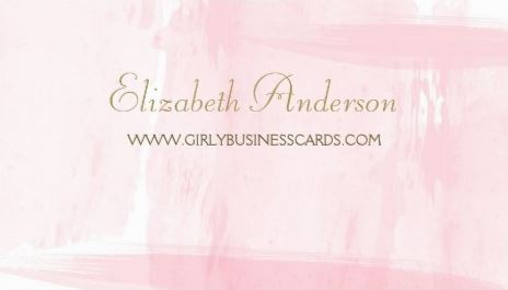 Simple Pink Watercolor Elegant Gold Script Template Business Cards