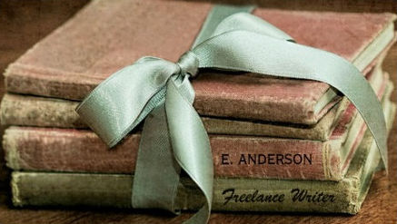 Vintage Books With Mint Ribbon Freelance Writer Business Cards
