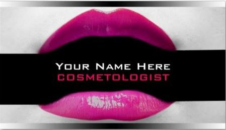 Modern Pink and Black Hot Pink Lips Black Band Make Up Artist Business Cards
