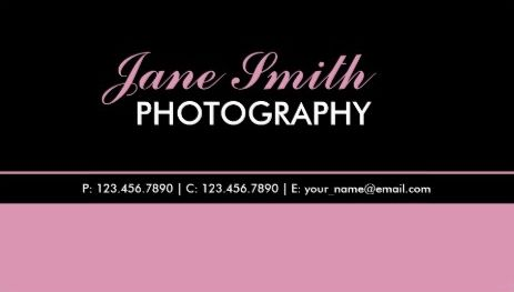 Modern Professional Plain Simple Classy Pink and  Black  Business Cards