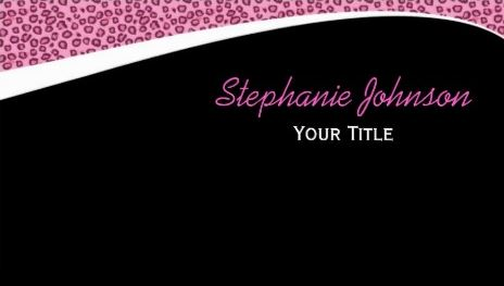 Sleek and Modern Pink and Black Cheetah Print on Black Background Business Cards