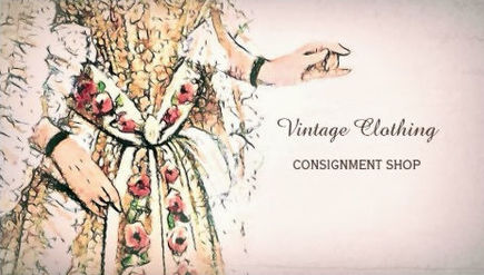 Vintage Clothing Consignment Shop French Gown Business Cards