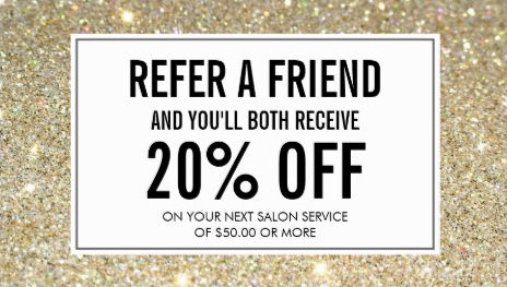 Modern Gold Glitter Salon Referral and Discount Business Cards