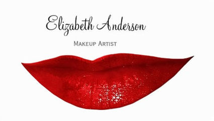 Modern Cosmetology Makeup Artist With Red Lips Business Cards