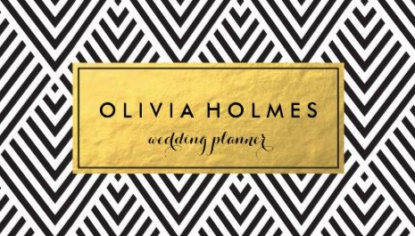 black and gold chevron pattern wedding planner business cards - Wedding Planner Business Cards