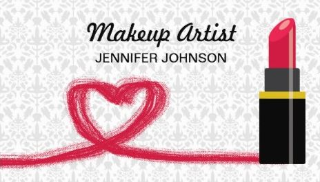 Girly Red Lipstick And Cute Heart Swirl Makeup Artist Business Cards