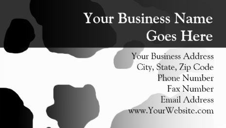 Fun Black and White Cow Print Modern Personalized Business Cards
