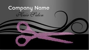 Girly hair salon business cards page 1 girly business cards modern black and purple hair salon curls and scissors business cards colourmoves