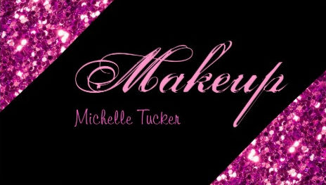 Girly Fuchsia Pink Glitter Glitz Makeup Artist Business Cards