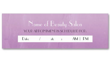 Simple Chic Purple Salon Appointment Reminder Business Cards
