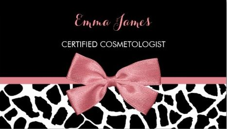 Cosmetologist Trendy Giraffe Print Rosy Pink Bow Business Cards