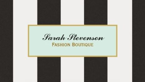 Elegant Black and White Stripes Aqua Frame Fashion Boutique Business Cards