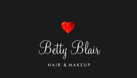 Simple Red Heart Black Hair and Makeup Consultant Business Cards