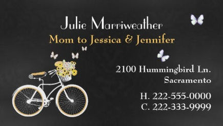Pretty Butterfly Retro Bicycle  Yellow Flower Basket Mommy Calling Cards