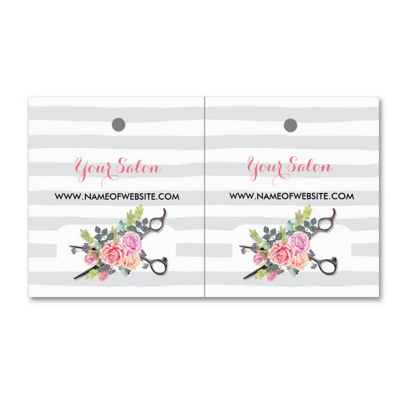 Chic Floral Scissors and Stripes - Girly Business Cards