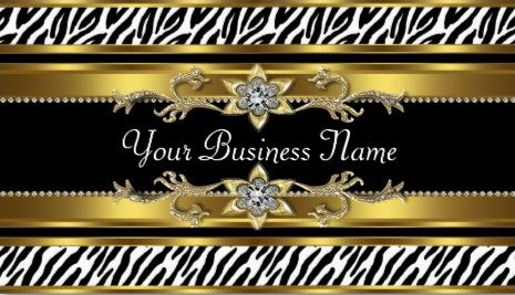 Glamorous Gold and Black Bejeweled Zebra Print Business Cards