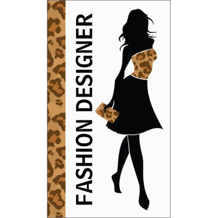 Fashion Designer Girl Silhouette With Brown Panther Print Business Cards