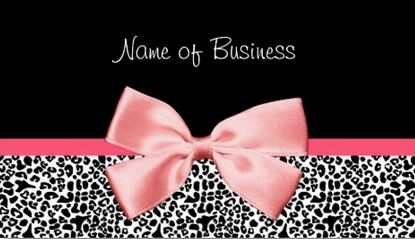 Trendy Black And White Leopard Print Girly Pink Ribbon Bow Business Cards