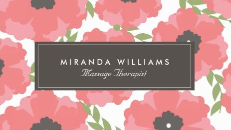 Girly floral business cards page 1 girly business cards elegant coral and pink poppy flowers floral massage therapist business cards accmission Choice Image