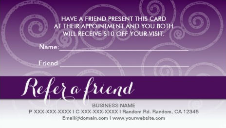 Dark Purple and White Swirls Refer a Friend Business Cards