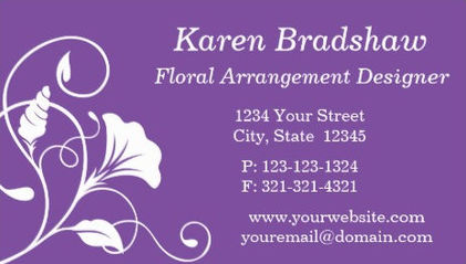 Purple and White Floral Filigree Floral Arrangement Designer Business Cards