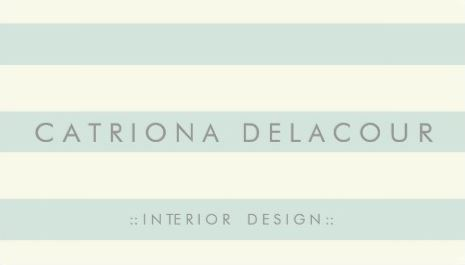 Chic Ivory and Mint Green Stripes Pattern Interior Design Business Cards
