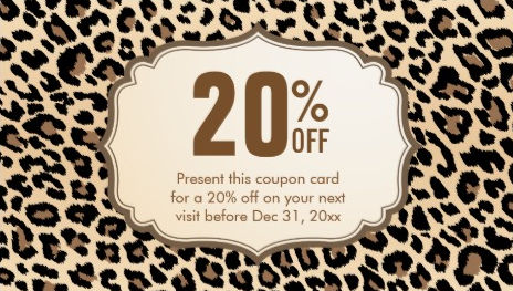 Stylish Brown Leopard Print Discount Coupon Card Business Cards