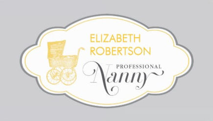 Elegant Retro Mod With Baby Stroller Professional Nanny Business Cards