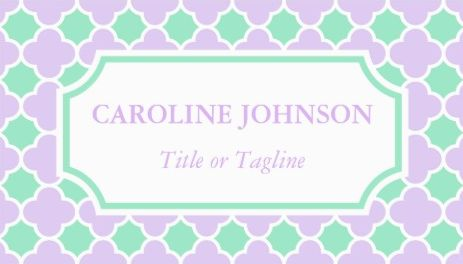 Pastel Mint Green Lilac Purple White Quatrefoil Pattern Business Cards