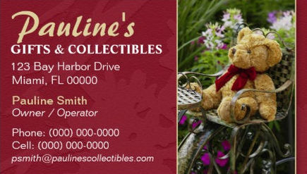 Cute Country Teddy Bear Gifts and Collectibles Boutique Business Cards