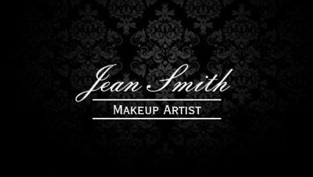 Elegant Dark Black on Black Damask Makeup Artist Business Cards