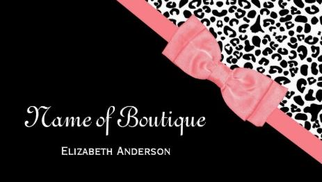 Chic Boutique Black and White Leopard Print Pink Ribbon Business Cards