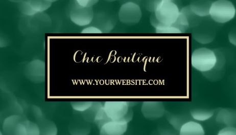 Chic Retail Boutique Glamorous Green and Gold Luxe Bokeh Business Cards